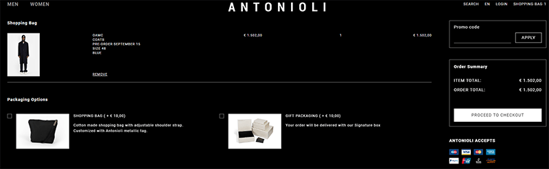 Antonioli Coupon Shopping Cart